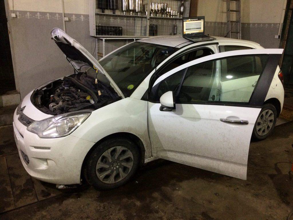 Откючение сажевого фильтра и удаление на Citroën C3 1.4 HDI 2013